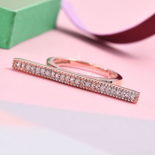 Diamond (Rnd) Bar Stacking Ring in Rose Gold Overlay Sterling Silver 0.100 Ct.