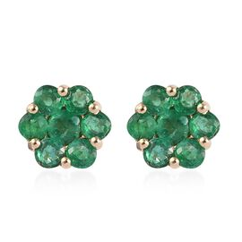 1.75 Ct AAA Brazilian Emerald Floral Stud Earrings with Push Back in 9K Gold 2.21 Grams
