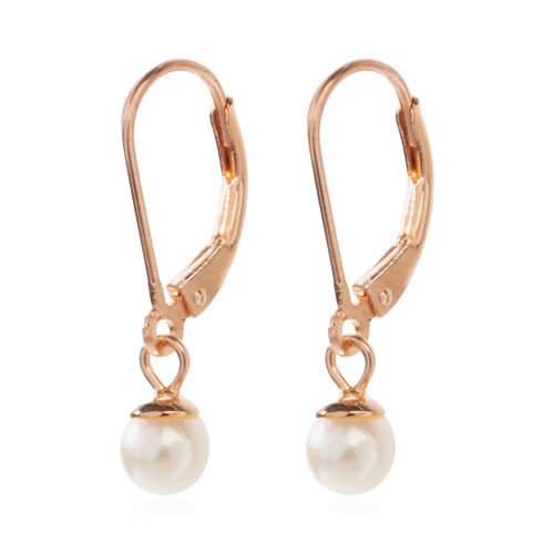 Japanese Akoya Pearl (Rnd 5-6 mm) Earrings (with Lever Back) in Rose Gold Overlay Sterling Silver