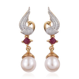 GP Fresh Water Pearl,African Ruby and Kanchanaburi Blue Sapphire in Earrings (with Push Back) in Platinum and 14K Gold Overlay Sterling Silver 9.000 Ct.