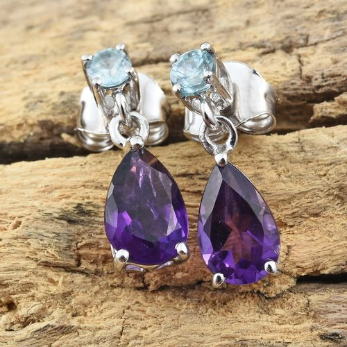 9K White Gold AA Amethyst (Pear), Blue Zircon Earrings (with Push Back) 1.750 Ct.