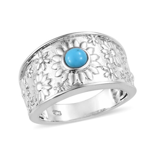 SLEEPING BEAUTY TURQUOISE (0.75 Ct) Platinum Overlay Sterling Silver Ring  0.250  Ct.