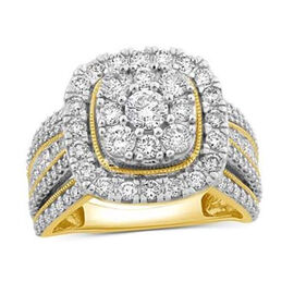 NY Close Out-14K Yellow Gold Diamond (I1/G-H) Cluster Ring 3.04 Ct, Gold Wt. 9.01 Gms