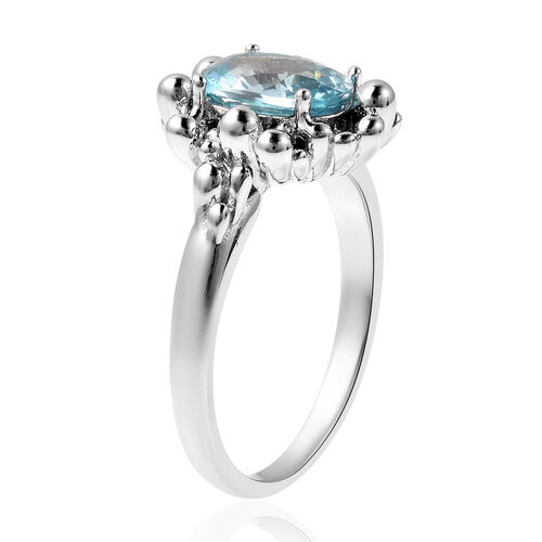 LucyQ Bubble Collection - Ratanakiri Blue Zircon Ring in Rhodium Overlay Sterling Silver 2.79 Ct.