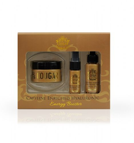 Cougar: Caffeine Enriched Set (Incl. Caffeine Enriched Hyaluronic Facial Oil - 30ml, Day & Night Cream - 50ml & Eye Serum - 15ml)