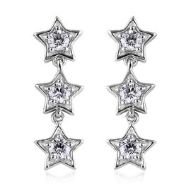 J Francis - Platinum Overlay Sterling Silver (Rnd) Star Earrings (with Push Back)  Made With SWAROVSKI ZIRCONIA