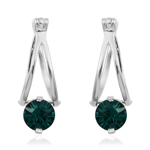J Francis Crystal from Swarovski - Emerald Colour Crystal (Rnd 6mm) Hoop Earrings (with Clasp) in Sterling Silver, Silver wt 3.08 Gms.