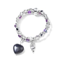 One Time Deal- Blue Sandstone (Hrt), Purple Agate Stretchable Bracelet (Size 7) with Heart Charm in Silver Plated
