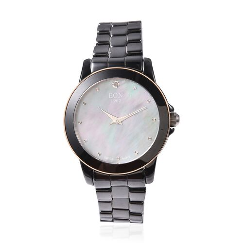 EON 1962 Swiss Movement Water Resistance Diamond Studded Watch with Grey Mother of Pearl Dial, Blue