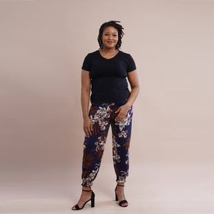 TAMSY  One Size  Floral Printed Trousers (Size:M/L,10-16) - Navy and White