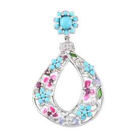 Arizona Sleeping Beauty Turquoise (Cush) and Multi Gem Stone Enameled Pendant in Platinum Overlay Sterling Silver 3.000 Ct, Silver wt 6.99 Gms.