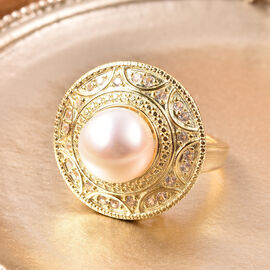 Edison Pearl and Natural Cambodian Zircon Ring in Yellow Gold Overlay Sterling Silver