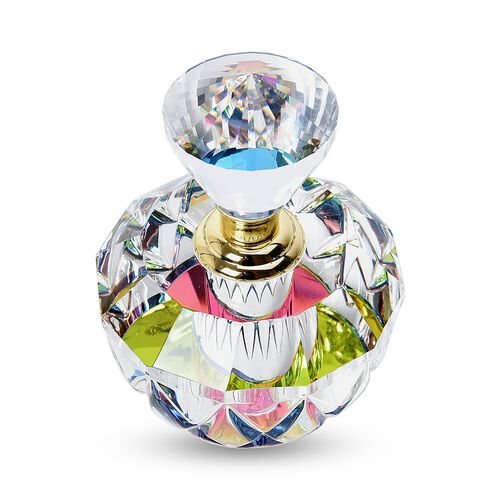 Round Shape Carved Crystal Refillable Perfume Bottle with Colourful Base (Size 11x6cm)