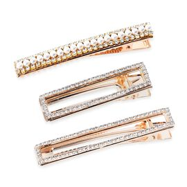 Set of 3 - Simulated Pearl and White Austrian Crystal Hair Clips with Gift Box in Gold Tone (Size 8