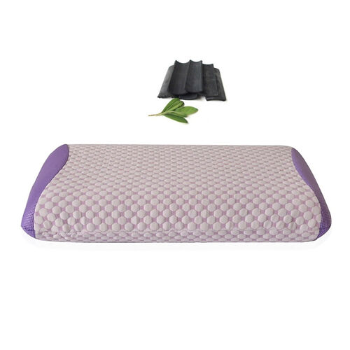 Aroma Therapy Bamboo Charcoal Essence Infused Memory Foam Pillow with Warming Velvet Cover on One Side (Size 60X40X10 Cm)