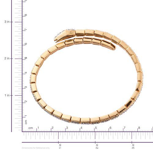 J Francis - 14K Gold Overlay Sterling Silver (Rnd), Boi Ploi Black Spinel Serpentine Bracelet (Size 7.5) Made with SWAROVSKI ZIRCONIA Number of Swarovski 119 PCS Silver wt 20.00 Gms.