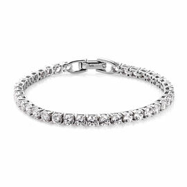J Francis Platinum Over Sterling Silver Tennis Bracelet (Size 7) Made with SWAROVSKI ZIRCONIA 10.00