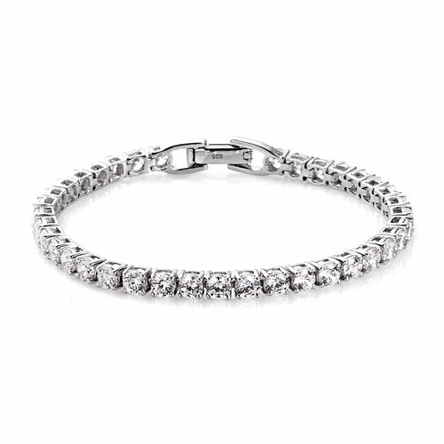 J Francis Platinum Over Sterling Silver Tennis Bracelet (Size 7) Made with SWAROVSKI ZIRCONIA 10.00