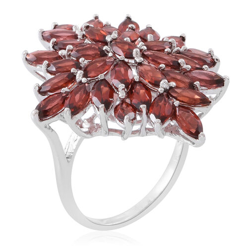 Mozambique Garnet (Mrq) Cluster Ring in Rhodium Plated Sterling Silver 10.000 Ct. Silver wt. 6.50 Gms.