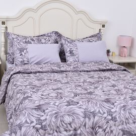 Set of 6 - Chrysanthemum Pattern Summer Duvet, Fitted Sheet,2 Oxford and 2 Standard Pillow Case (Siz
