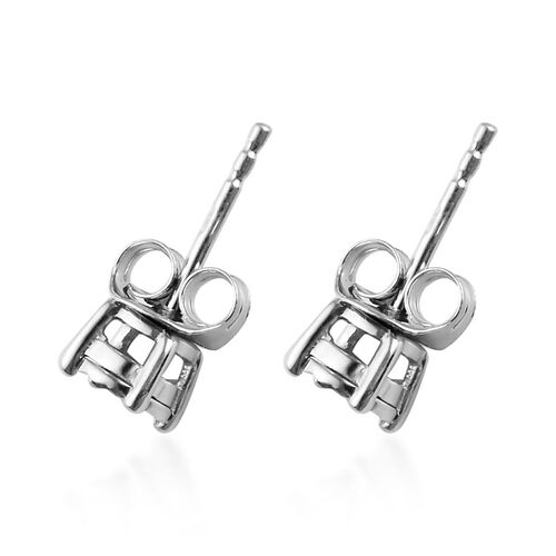 Natural Diamond (Rnd) Stud Earrings (with Push Back) in Platinum Overlay Sterling Silver