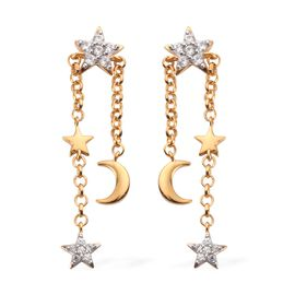 Natural Cambodian Zircon Moon Star Dangle Earrings (with Push Back) in 14K Gold Overlay Sterling Sil