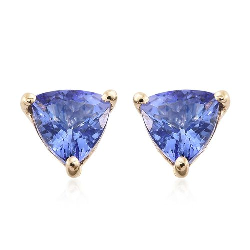 9K Yellow Gold 1.50 Ct AA Tanzanite Solitaire Stud Earrings (with Push Back)