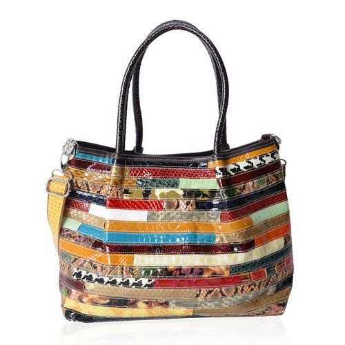 100% Genuine Leather Multi Colour Large Tote Bag with Removable Shoulder Strap (Size 37x29x13 Cm)