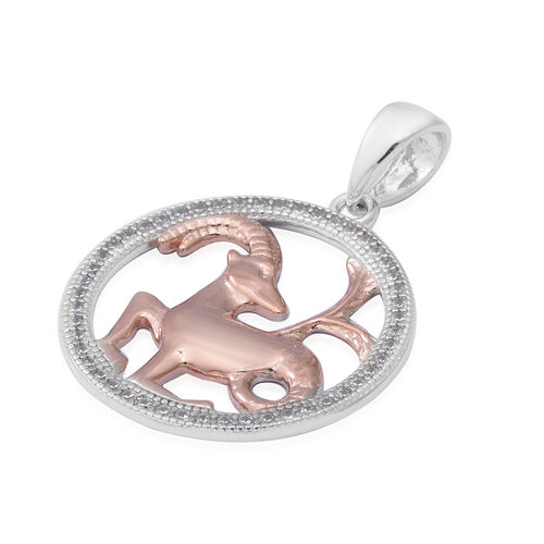 ELANZA Simulated Diamond Zodiac-Capricorn Pendant in Plain and Rose Gold Overlay Sterling Silver