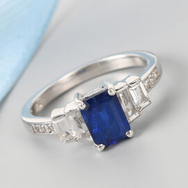 Tanzanian Blue Spinel and White Topaz Ring in Platinum Overlay Sterling Silver 1.60 Ct.