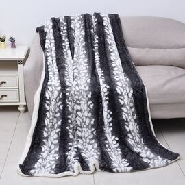 One Time Mega Deal- Sumptuous Quality Faux Fur Sherpa Blanket in Grey and White. (150x200cm)