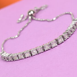 Diamond (Rnd) Adjustable Bolo Bracelet (Size 6.5 - 9.5) in Platinum Overlay Sterling Silver 0.25 Ct.