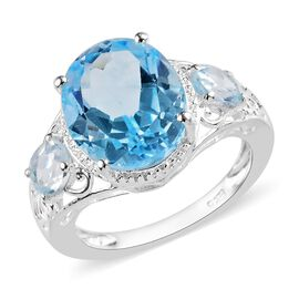 One Time Deal- Rare Size Sky Blue Topaz (Ovl 12x10mm) Ring in Sterling Silver 6.50 Ct.