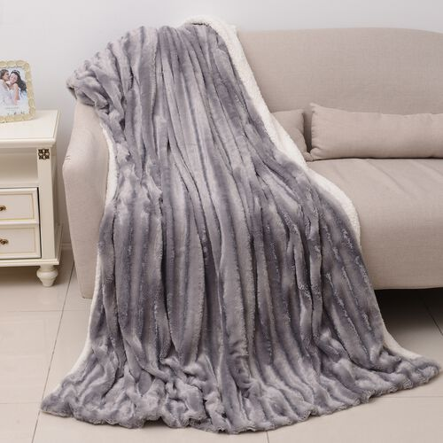 Autumn/Winter Collection - Silver Colour Faux Fur Sherpa Reversible Blanket (150x200 cm)