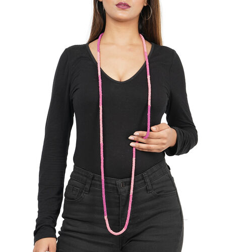 New Arrival- Endless Bead Necklace (Size 58) - Pink Lapidocrocite Colour