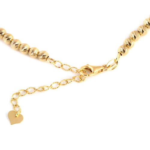 Close Out Deal- 9K Y Gold Diamond Cut Graduated Beads Necklace (Size 16.5 with 2.5 Inch Extender), Gold wt 12.50 Gms.