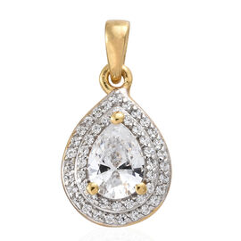 J Francis - 14K Gold Overlay Sterling Silver (Pear and Rnd) Pendant  Made with SWAROVSKI ZIRCONIA