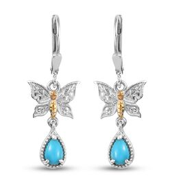 Arizona Sleeping Beauty Turquoise Dangling Butterfly Earrings in Platinum and Yellow Gold Overlay St