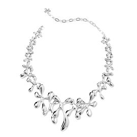 LucyQ Splash Statement Necklace in Rhodium Plated Silver 77.08 Grams 15 with 3.5 inch Extender