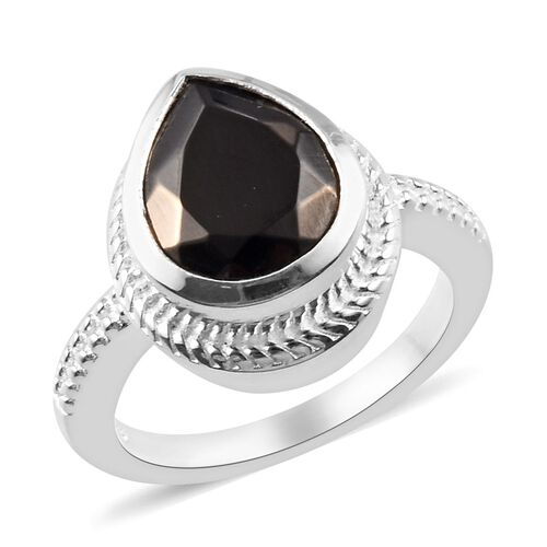 1.75 Ct Shungite Magnetic Solitaire Ring in Sterling Silver