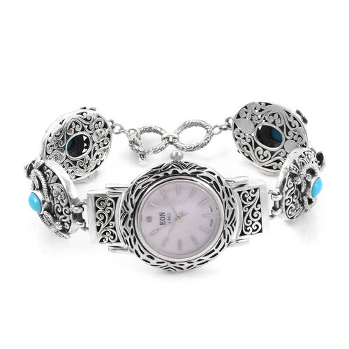 Royal Bali Collection -  Arizona Sleeping Beauty Turquoise (Ovl) Watch Bracelet (Size 7.5 to 8) in Sterling Silver 2.680 Ct, Silver wt 32.00 Gms.