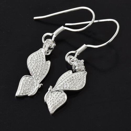 J Francis - Sterling Silver (Rnd) Butterfly Hook Earrings Made with SWAROVSKI ZIRCONIA