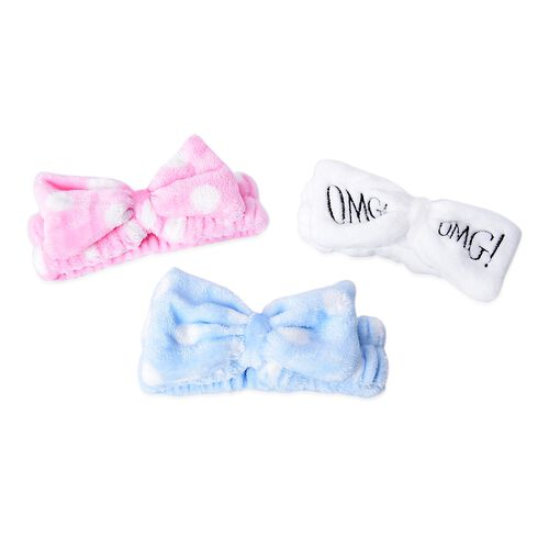 3 Piece Set - Lovely Bowknot Headband Non-Stretchable in Polka Dot Pattern (Dia 14 Cm) - Pink, White and Blue