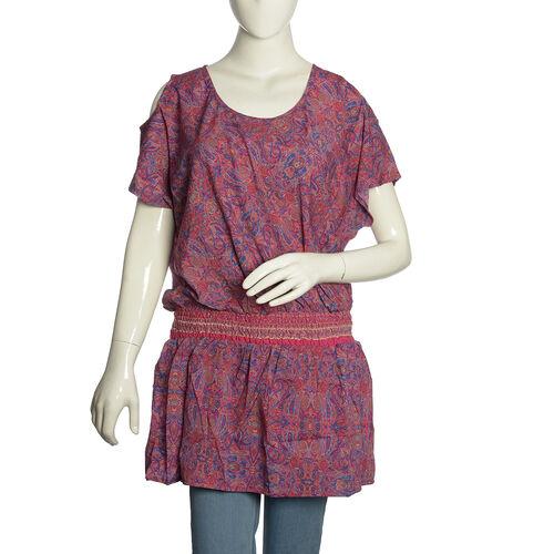 Rose Pink and Purple Colour Paisley Pattern Cutout Shoulder Dress (Free Size)
