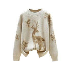 Kris Ana Christmas Reindeer Wool Mix Jumper One Size (8-16) - Cream