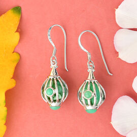 Sajen Silver GEM HEALING Collection - Chrysoprase Hook Earrings in Rhodium Overlay Sterling Silver 9.92 Ct.