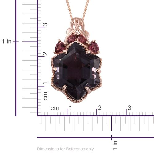 Alexandria Quartz and Rhodolite Garnet Pendant with Chain in Rose Gold Overlay Sterling Silver 16.250 Ct.