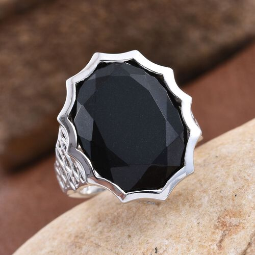 Australian Midnight Tourmaline (Ovl) Ring in Platinum Overlay Sterling Silver 19.250 Ct.