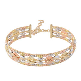 Italian Made- 9K White, Yellow and Rose Gold Bangle (Size 7 with 1 inch Extender), Gold wt 12.00 Gms