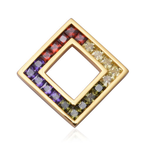 ELANZA Simulated Rainbow Sapphire Pendant in Yellow Gold Overlay Sterling Silver 3.00 Ct.